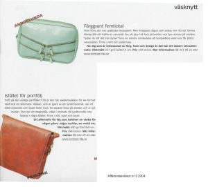 Article in Affärsresenären Magazine featuring accessories designed by Anki Andersson